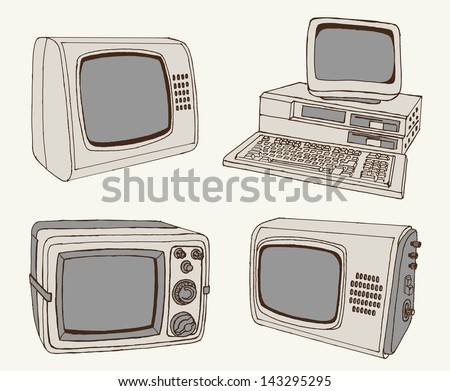 antique TV and computer. set of vector sketches - stock vector