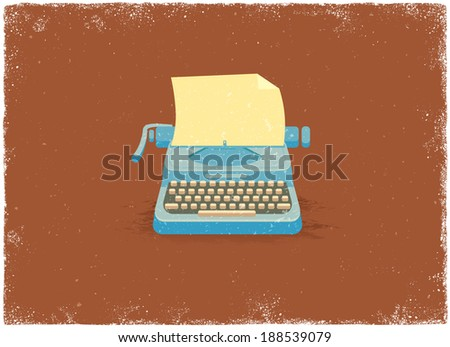 Antique typewriter in vintage vector style - stock vector