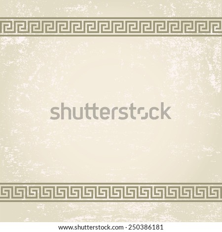 antique wall with greek ornament meander.vector background - stock vector