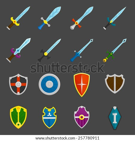 Antique weapon color icons set with heraldic battle shields and crusader knights swords abstract isolated vector illustration - stock vector