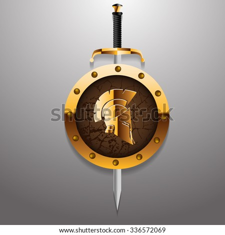 Antiques Roman or Greek helmet for head protection soldiers with sword and golden board vector illustration eps 10 - stock vector