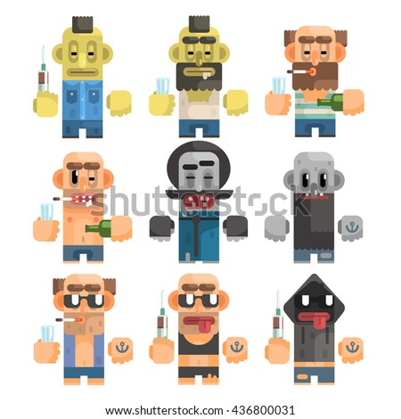 Antisocial People Icon Set Of Flat Primitive Stylized Graphic Design Vector Icons Isolated On White Background