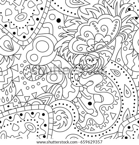 antistress coloring page with zentangle elements seamless pattern with abstract ornaments - Coloring Page Zentangle