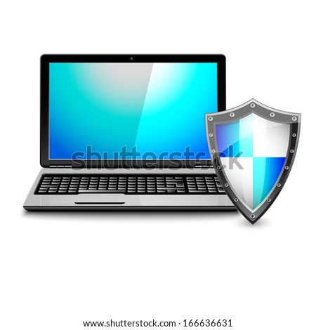 Antivirus concept. Laptop computer protected by shield on a white background  - stock vector