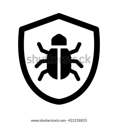 Antivirus protection / virus shield line art icon for apps and websites - stock vector