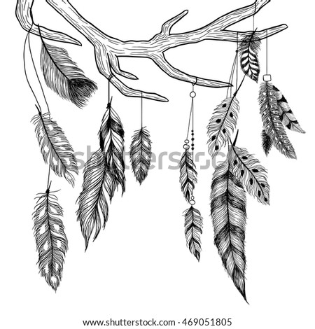 Antler and feathers. Boho illustration.