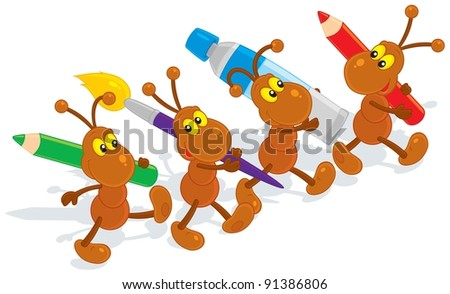 ants artists holding color pencils, paintbrush and tube of paint - stock vector