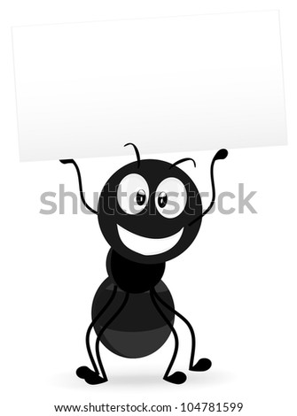 ants carrying blank signs in hand - stock vector