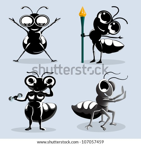 ants cartoon in various action isolated on blue - stock vector