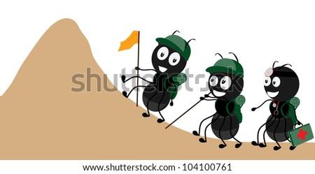 ants climbing - stock vector
