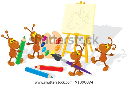 ants drawing a picture on a canvas - stock vector