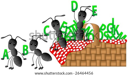 Ants having a picnic with the alphabet.