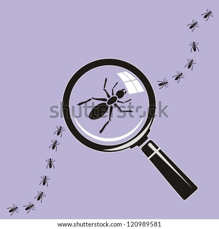 Ants. Magnifying glass on background - stock vector