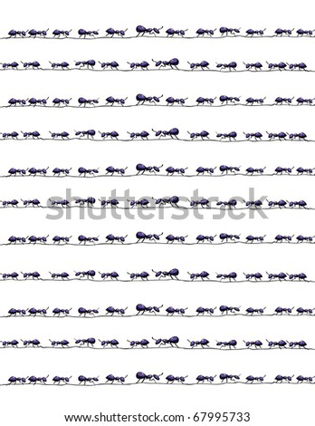 Ants on wires background - stock vector