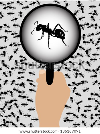ants with a magnifying glass - stock vector