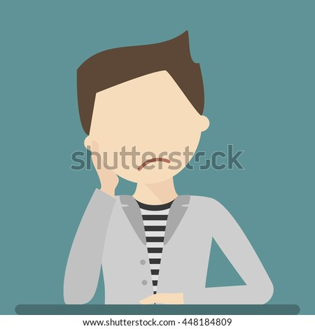 Anxious and sad young man clutching head his hand. Vector flat style illustration isolated. Headache pain. Worried, depression sign. Loser. Tired, upset person. - stock vector