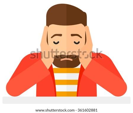 Anxious man clutching his head. - stock vector