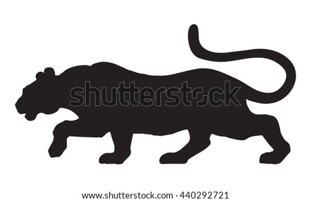 Anxiously powerful pretty young big alert leo sneak fierce looking for prey isolated on white. Freehand black ink hand drawn picture sketchy in scribble graphic style - stock vector
