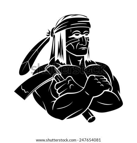 Apache Mascot tattoo - stock vector