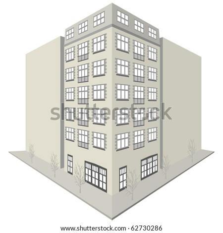 Apartment Block Design - stock vector