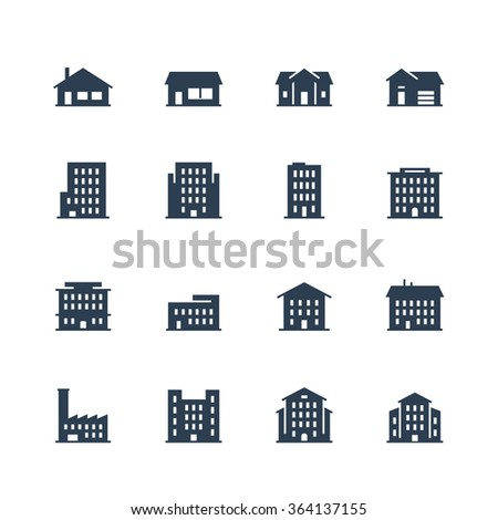 Apartment buildings and houses icon set - stock vector
