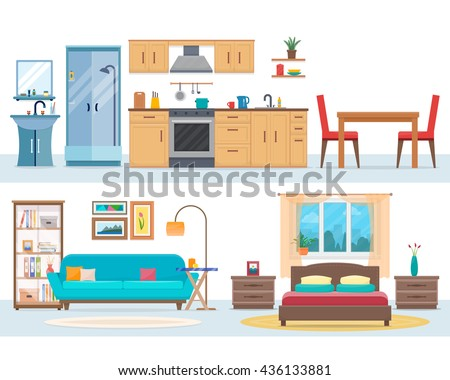 modern house interiors. Detailed modern house interior  Rooms with furniture Flat style vector illustration Home Interior Stock Images Royalty Free Vectors