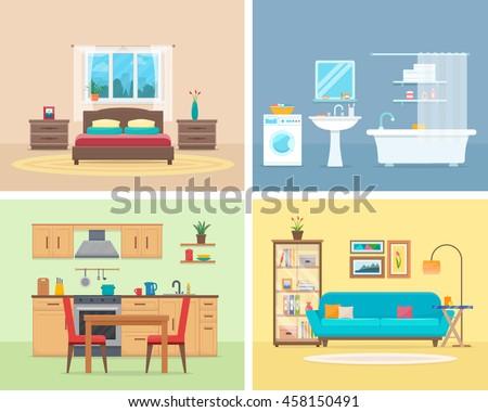 apartment inside detailed modern house interiorのベクター画像素材