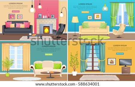 Apartment Interiors Web Banners Set Elegant Stock Vector 588634001 ...