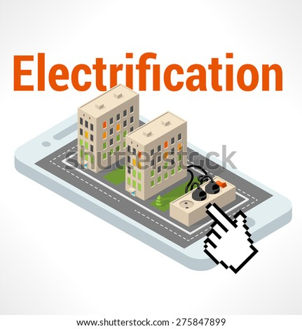 Apartment Isometric building on smartphone  - stock vector