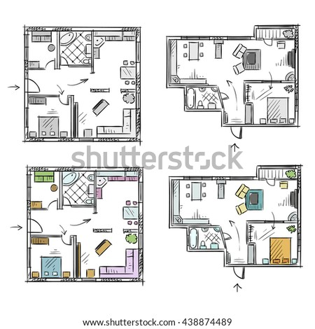 Apartment plan with furniture, vector sketch EPS 10 format, fully editable - stock vector