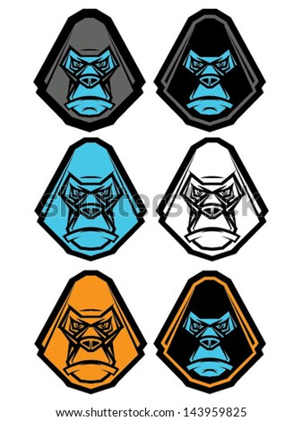 Ape graphic illustrations in various styles/Gorilla Head Icon Set/Vector Gorilla Head Icon Set - stock vector