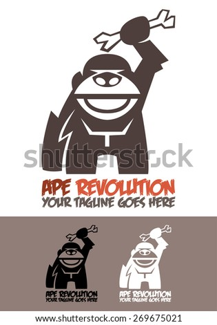 Ape Revolution is a template logo depicting a fierce ape using an animal bone as a weapon, as a source of human evolution in which we began using tools to excel. Available in color, black and white. - stock vector