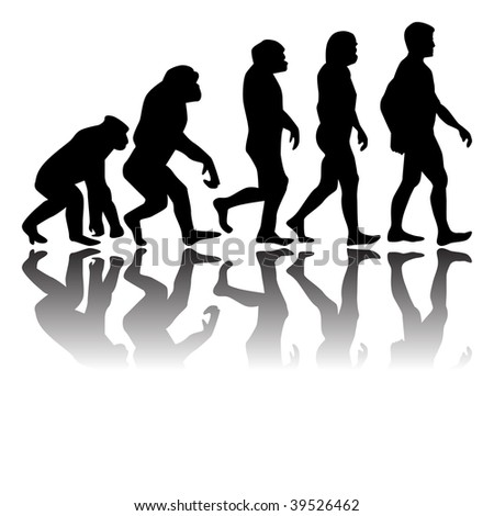 ape turning into man - stock vector