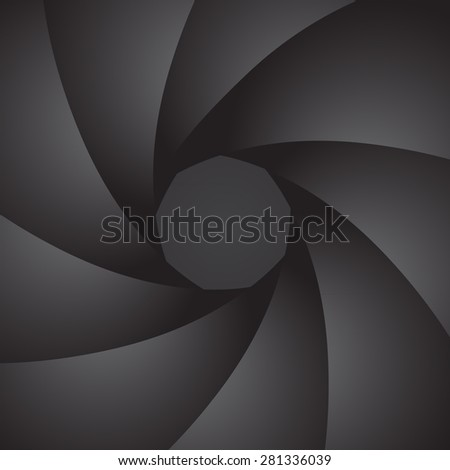 Aperture camera. Petals of the diaphragm. Vector Image.