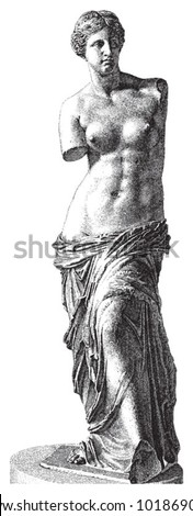 Aphrodite of Milos (Venus de Milo) / vintage illustration from Brockhaus Konversations-Lexikon 1908 - stock vector