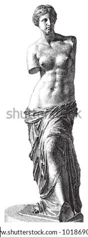 Aphrodite of Milos - Venus / vintage illustration from Brockhaus Konversations-Lexikon 1908 - stock vector