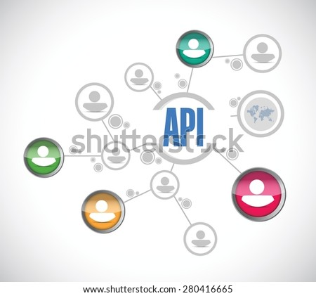 Api people diagram sign concept illustration design over white - stock vector
