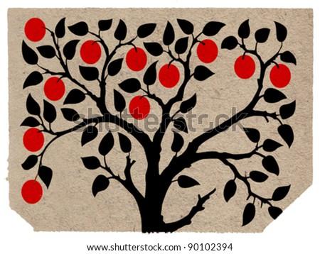 aple tree on grunge background, vector illustration - stock vector
