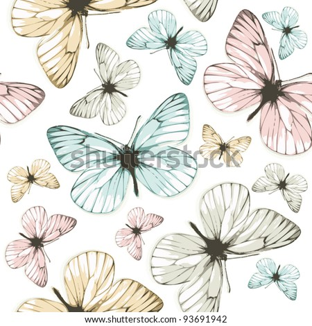 Aporia butterflies (tile-able background) - stock vector