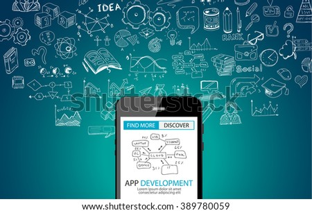 App Development Concept Background with Doodle design style :user interfaces, UI design,mobiel devices. Modern style illustration for web banners, brochure and flyers. - stock vector
