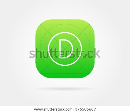 App Icon Template with Guidelines. Vector Fresh Color With Font Letter. - stock vector