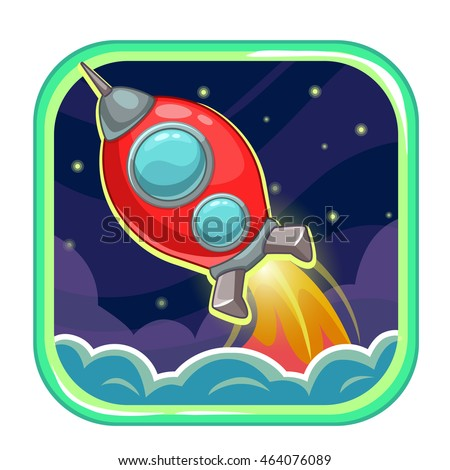 App icon with flying rocket ship. Vector illustration.