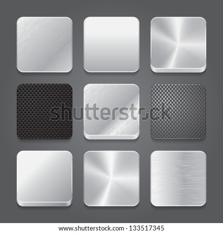 App icons background set. Metal button icons. Vector illustration - stock vector