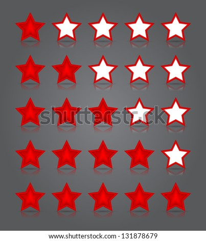 App icons glass set. Five glossy red stars ratings. Vector illustration - stock vector