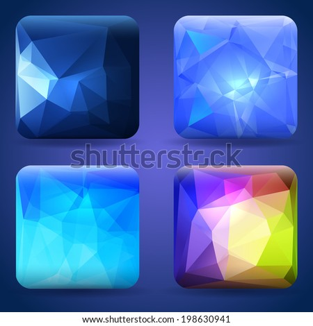 App icons or buttons templates set with modern crystal texture - stock vector