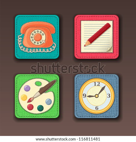 App icons stitched on the textile background in pastel colors - stock vector