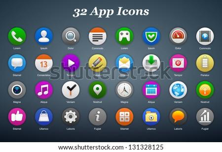 App icons. Vector illustration. Eps 10. - stock vector