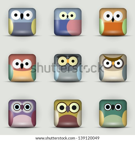 App icons vector set of owls - stock vector