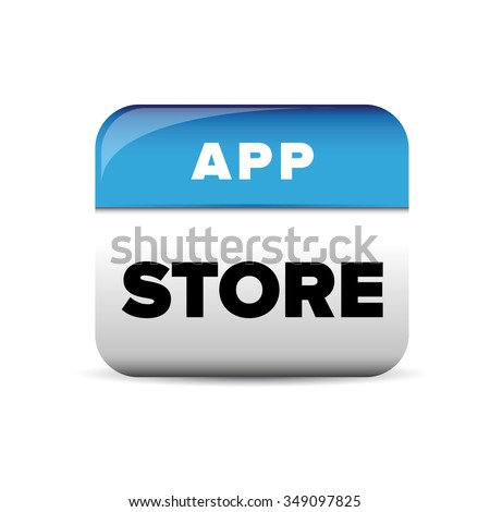 App store button blue vector - stock vector