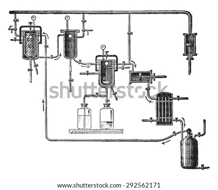 Apparatus for extracting perfumes, vintage engraved illustration. Industrial encyclopedia E.-O. Lami - 1875.